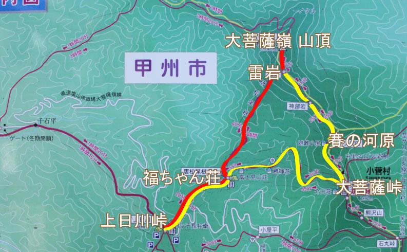大菩薩嶺の地図