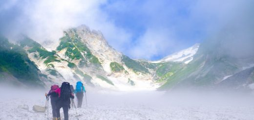 雪山登山の写真