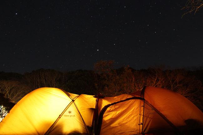 大原上布施キャンプ場の12月の星空