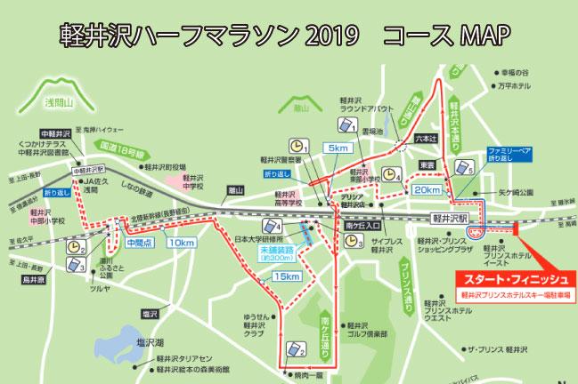 軽井沢ハーフマラソン2019のコースマップ