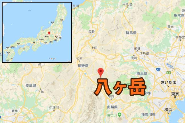 地図 八ヶ岳の位置