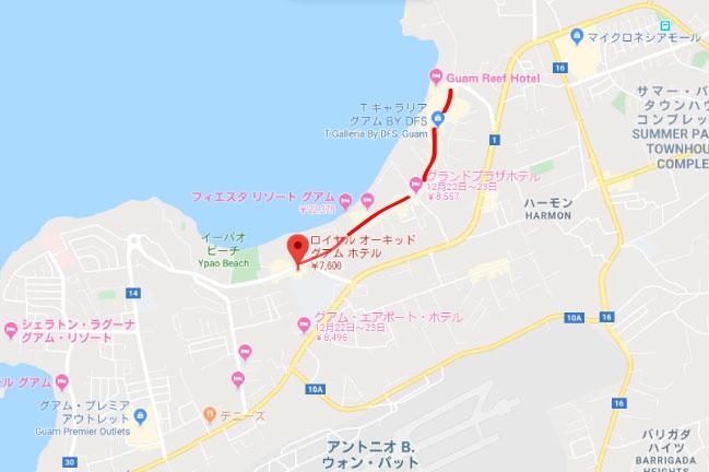 ロイヤルオーキッドホテルグアムの立地地図