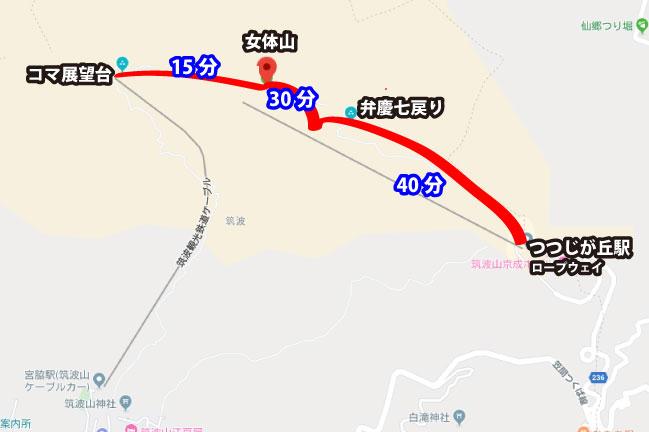 筑波山おたつ石コースMAP