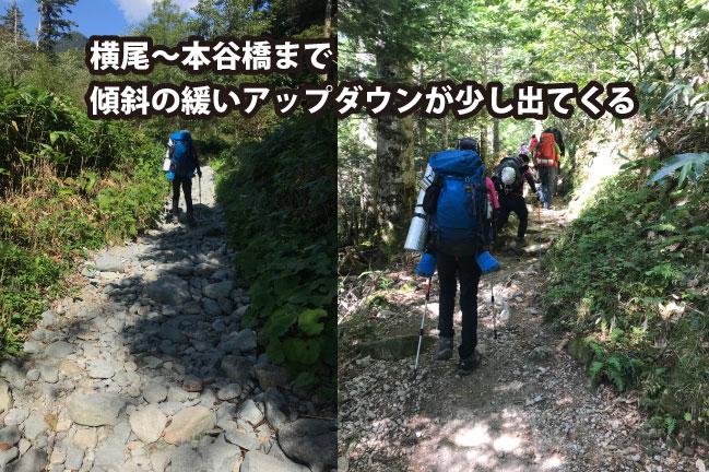 2020年9月横尾から本谷橋までの間の登山道