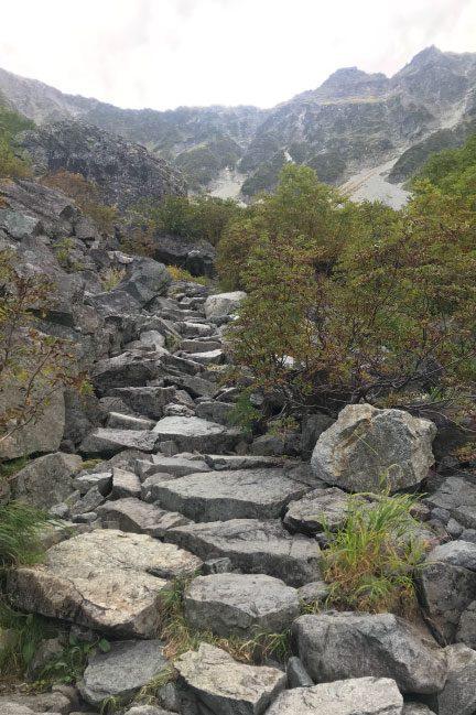 2020年9月涸沢カールへの最後の分岐後の登り