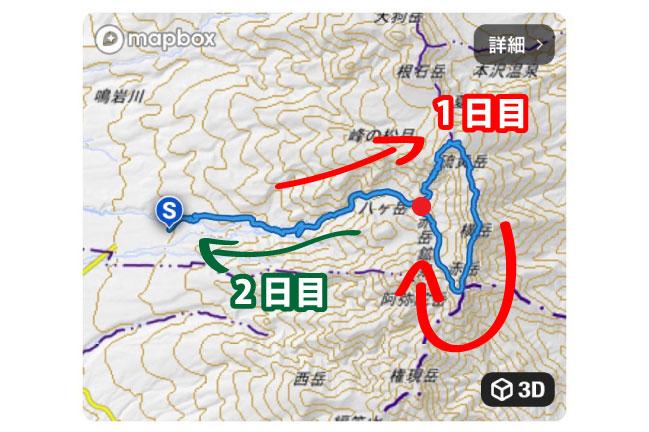 2020年10月上旬の南八ヶ岳縦走登山のルート全体図