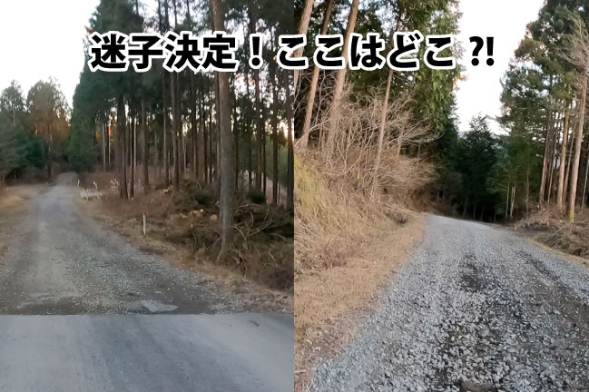 ふじいち走行中の迷子になった道。進むほどに未舗装路になっていく。