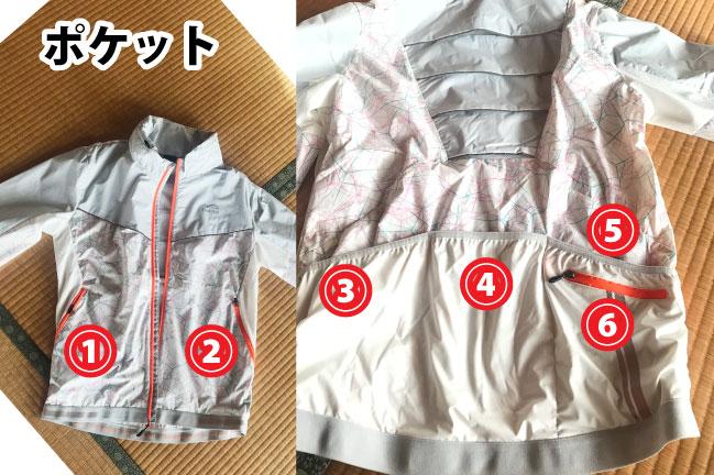 ワークマンプラスのFind-Outサイクルジャケットの6つのポケット位置