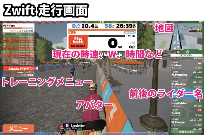 Zwiftの走行画面