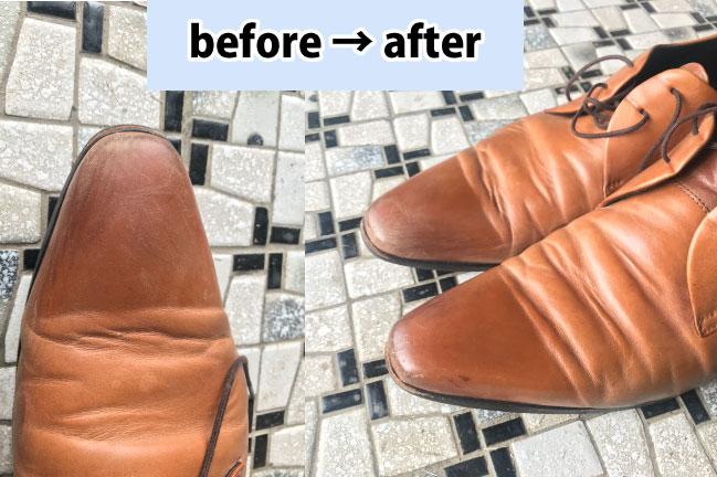 DASCOの靴磨きスターターセットで磨いた靴の前と後