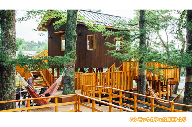 山中湖にあるハンモックカフェの内観写真