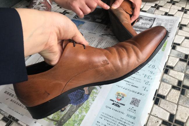サフィールの靴用ワックス直後