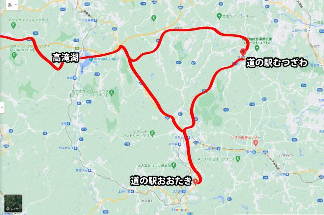 2021年8月 道の駅100kmライドの地図
