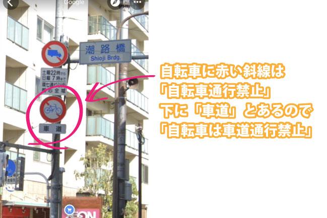 自転車が車道通行禁止の標識