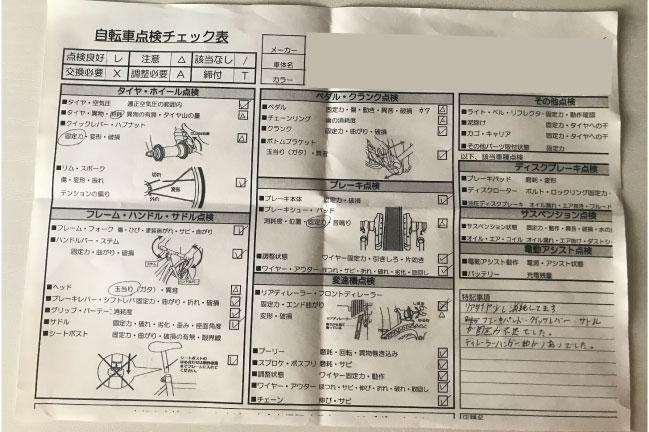 スポーツデポのロードバイク点検項目